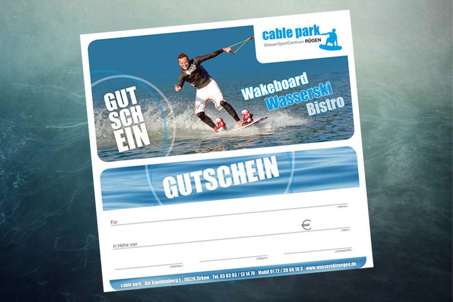 Gutschein der Wasserskianlage Cable Park Rügen in Zirkow